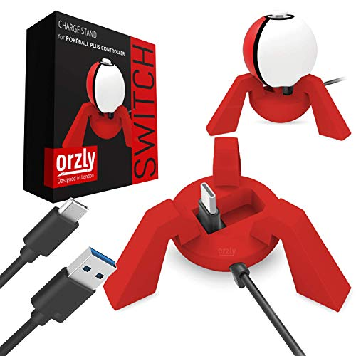 ORZLY® Pokeball Switch Dock, Red, Nintendo Switch Poke Ball Plus Charge Stand, Charging Station for Pokeball Controller, with Built In USB Charging Cable Included