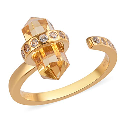 TJC Citrine and White Zircon Open Ring for Women in 14ct Gold Plated 925 Sterling Silver Adjustable Jewellery Size P, TCW 6.26ct