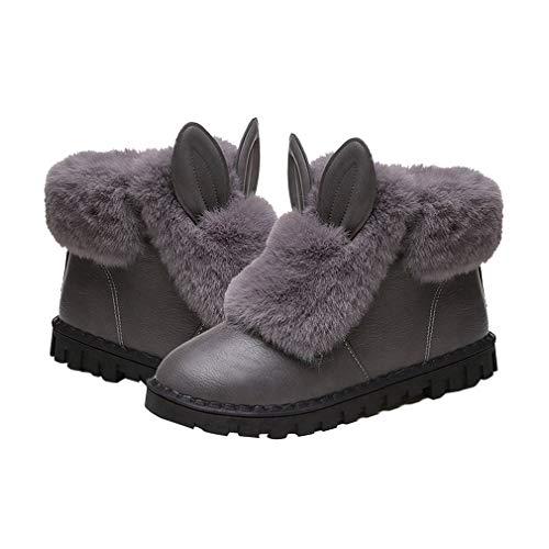 Zapatos de Plataforma Plana de Invierno Engrosamiento Mantener el Calor Botas de...