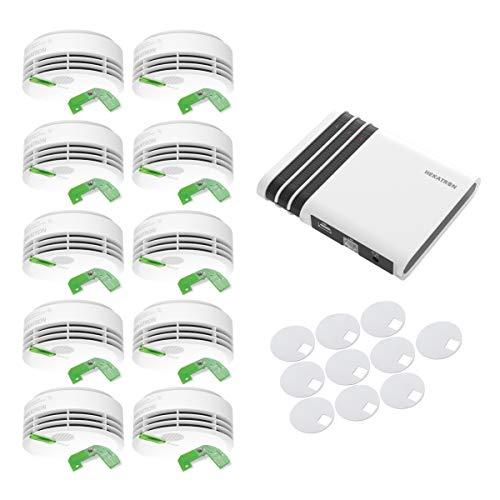 Hekatron Funk-Rauchmelder Genius Plus X inkl. Funkmodul und Genius Port - App unterstützt - Smarthome erweiterbar - 10 Jahres-Batterie - 10-er Set inkl. Klebepads