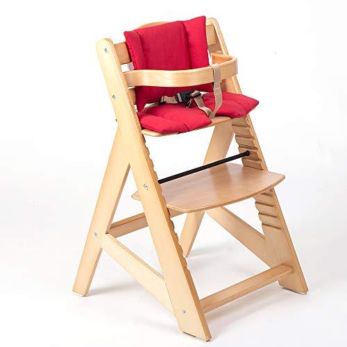 TIGGO Kinderhochstuhl mitwachsend - Treppenhochstuhl - Buchenholz - Babyhochstuhl - Hochstuhl ab 6 Monaten bis 10 Jahre 32112-01 natur/rot