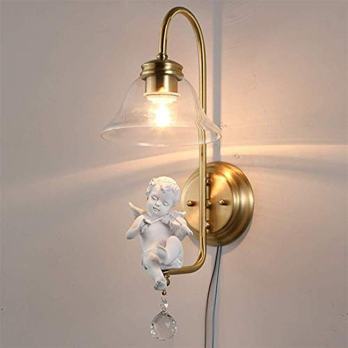 XUSHEN-HU Angel con violín Blanco Lámpara de Pared Dorado Aplique Moderno Iluminación y decoración para Dormitorio Pasillo Salón Lámpara Latón