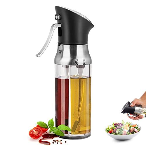 Dispensador de pulverizador de Aceite,Boquilla Doble Premium Acero Inoxidable Botella de Vidrio para Cocinar Barbacoa Asar Hornear Ensalada