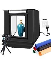 YOTTO Caja de Luz Fotografía 40x40x40cm Estudio Fotográfico Brillo Ajustable Plegable Photo Studio Portátil Tienda con 2 Tiras de LED 6 Fondos de Colores (Azul, Blanco, Negro, Amarillo, Rojo, Verde)