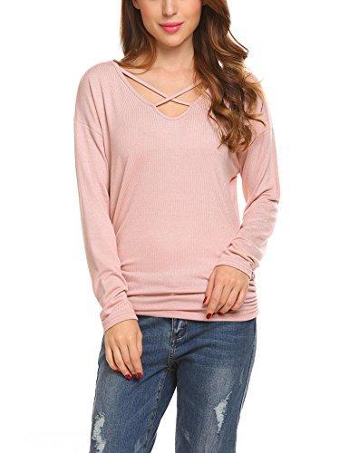 Unibelle Damen T-Shirt V-Ausschnitt Mit Schnürung Vorne Oberteil Tops Bluse Langarm Shirt Pastell Rosa S
