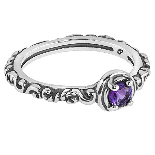 Carolyn Pollack Sterling Silver Purple Amethyst Gemstone Single Round Stone Band Ring Size 6