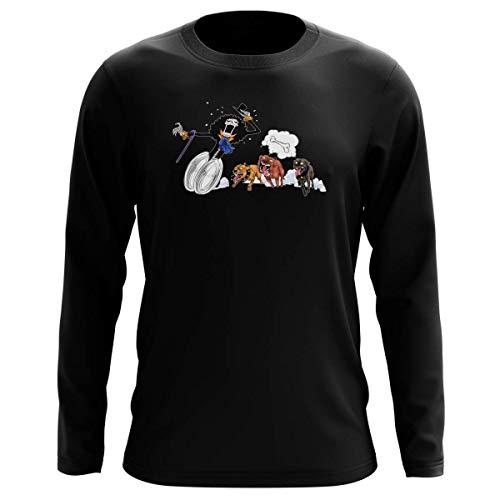 T-Shirt Manches Longues Noir Parodie One Piece - Brook - Le Meilleur ami du Chien ! (T-Shirt de qualité Premium de Taille M - imprimé en France)