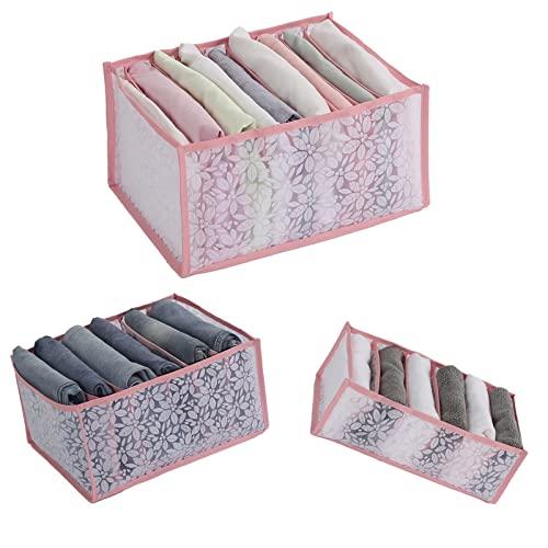 HGFG 3 organizadores de cajones plegables, compartimento para pantalones vaqueros, caja de almacenamiento para ropa interior, organizador de sujetador para cajón DD, 3 tamaños, 9 rejillas (B)