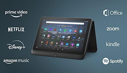 """Wir stellen vor: das Fire HD 10 Plus-Tablet, 25,6 cm (10,1 Zoll) großes Full-HD-Bildschirm (1080p), 32 GB, schiefergrau, ohne Werbung + kabelloses Ladedock """"Made for Amazon"""""""