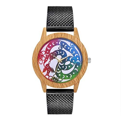 XIANGAI Exquisito Cuarzo con Encanto Populares Reloj de Mujer Casual Redondo Grande del Reloj de la joyería Accesorios DecorationT399-F, Color: Oro (Color : Black)