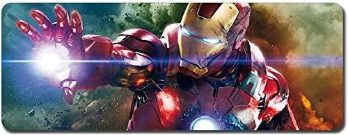 Alfombrilla de Ratón Gaming Gaming Mouse Pad Modelo Grande Alfombrillas de Ratones Iron Man The Avengers Superhero Tabla Mat Mat Teclado extendido Mousepad (Color : Bfx16, Size : 800x300x3mm)