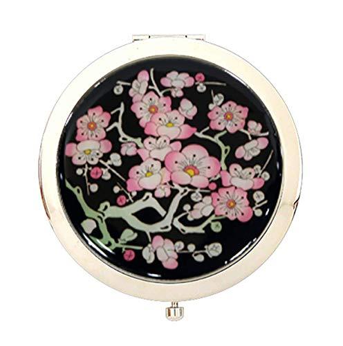 Nacre Miroir cosmétique double miroir de poche fait main Bleu-cadeaux, fleurs de cerisier