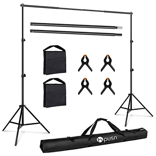 HPUSN Photo Video Studio 10ft. Adjustable Backdrop Stand, Background Support System Kit for Photography Studio with Clamp, Sand Bag, Carry Bag