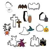 Cortadores de galletas de Halloween 10 piezas de moldes de galletas de Halloween, el juego de cortadores de galletas incluye calabazas, fantasmas, ataúd, lápida, sombrero de mago,mago de escoba etc.