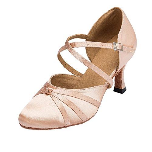 MINITOO Damen Latin Salsa Ankle Strap Bronze Satin Tanzschuhe Hochzeit Prom Pumps EU 39