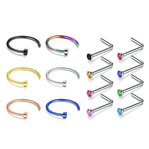 Zolure 22 Gauge Aro de Anillo de Nariz Nariz Pin Hueso Stud Forma de L Cristal Joyería Piercing Conjunto