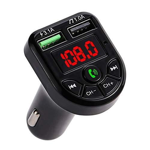 NewIncorrupt Transmisor FM Bluetooth, Adaptador de audio para radio de coche, Reproductor MP3 (salida USB dual 5v / 3.1A), Pantalla LED, Con comandos de voz