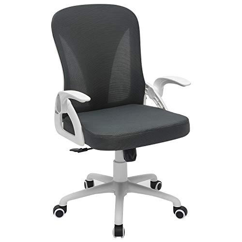 JESALETON Bürostuhl / Schreibtischstuhl, ergonomisch, Drehstuhl mit hochklappbaren Armlehnen, Weiß