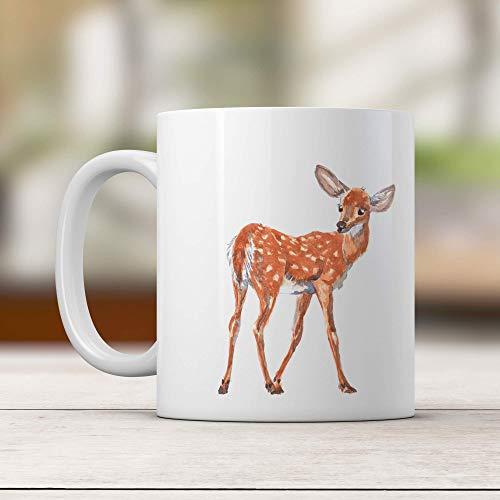 Taza de ciervo personalizada Taza con nombre personalizado Taza con nombre Regalo de cervatillo Regalo de amante de los animales Woodland Little Baby Deer Coffee MugTaza de té