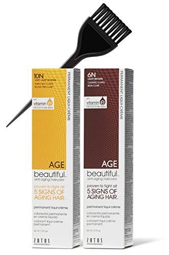 Zotos Age Beautiful Anti-Aging Haircolor, Permanent Liqui-Creme Hair Color (w/Sleek Brush) Liquid Cream Dye, 100% Gray Coverage, Agebeautiful (5RR Medium Intense Red)