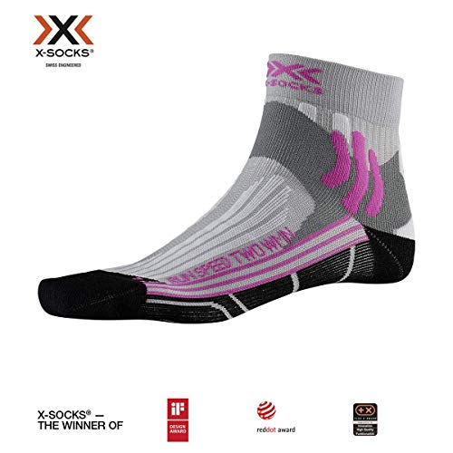 X-Socks Damen Run Speed Two Laufsocken Hellgrau, Schwarz Socken, 37-38