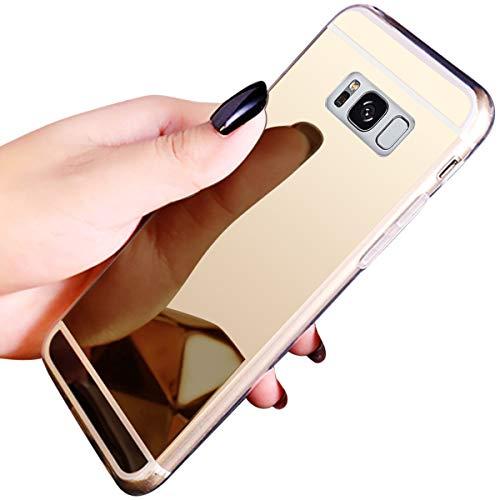 JAWSEU Compatible avec Samsung Galaxy S8 Coque Miroir Silicone,Cristal Brillant Bling Glitter Miroir Housse de Protection Slim Souple Gel Paillettes Strass Case Femme Fille,Or