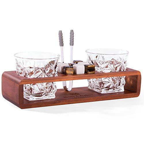 Grimm & Brothers: Whiskey Gläser Set- 2 Whisky Gläser- 8 Whisky Steine- Whisky Geschenke Set- Whisky Glas Set- Bambus Gestell- Whiskey Steine Set, Whisky Set, Gläser Set
