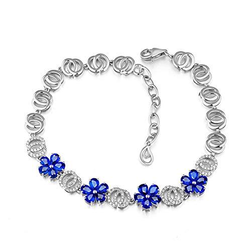 Beydodo Brazalete de Mujer Plata Azul,Pulsera Oro Blanco 18k Flor con Zafiro Azul 3.52ct Longitud 16cm + 2cm