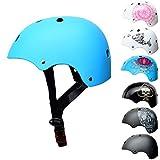 SC German Children Helmet for Boys & Girls - Skate Scooter Longboard Helmet for Cool Kids, Blue Skateboard Helmet, Size: S