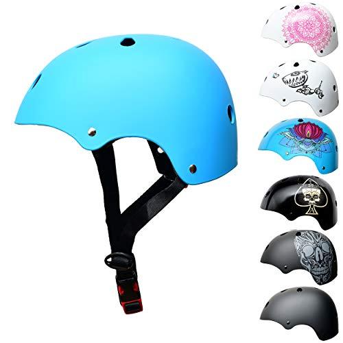 SkullCap Kids BMX & Skate Helmet - Bicicleta Y Scooter Eléctrico, Diseño: Blue Ocean, Talla: S