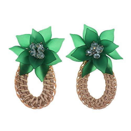 Fransande Pendientes de gota de agua hechos a mano para mujer de madera de paja tejido de ratán, regalo de boda, fiesta de resina, pendientes de joyería verdes