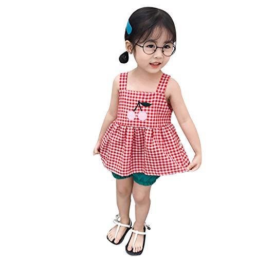 KEERADS KIDS été Printemps Plaid Cherry Strap Tops Short Solide froncé Pantalon Outfits Enfant Bébé Fille 0 1 2 3 4 5 6 7 9 Ans Les magasins Ont