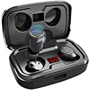 Wireless Earbuds,AIKELA Bluetooth 5.0 Earphones with Charging Case Sweatproof TWS Stereo Headphones in Ear Built in Mic Headset Premium Sound with Touch Control for Sport Black