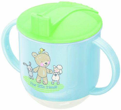 Rotho Babydesign Tasse à Bascule, Dès 6 mois, Modern Feeding, Motif Meilleurs Amis, 10,5 x 12 cm, Bleu / Vert citron / Blanc, 300240222AZ