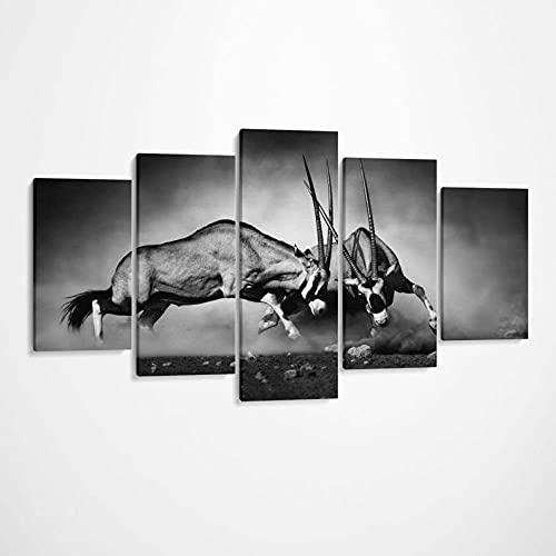 5 Piezas Cuadro sobre Lienzo Imagen Lucha contra los Ciervos   Ciervos del Bosque Impresión Pinturas Murales Decor Dibujo con Marco Oficina Aniversario Regalo Carteles Listo para Colgar 150 * 80cm