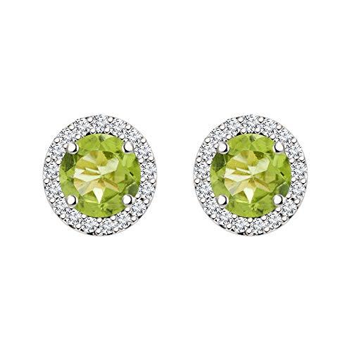 SLV Pendientes de tuerca con halo de diamante de corte redondo de 5 mm, para mujer en plata 925 chapada en oro blanco de 14 quilates
