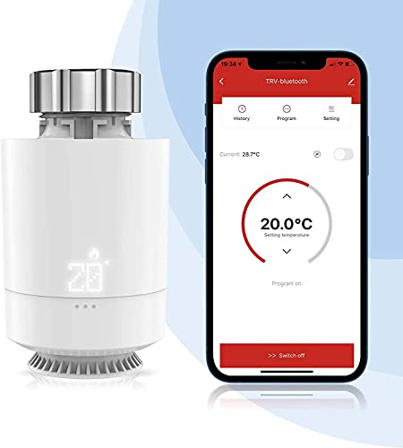 Inteligente Termostato WiFi, Etersky Válvula Termostática Radiador, Termostato Calefacción Bluetooth, Smart Cabezal Termostático Programable, Control App, Pantalla LED, M30*1.5mm, Control Grupal