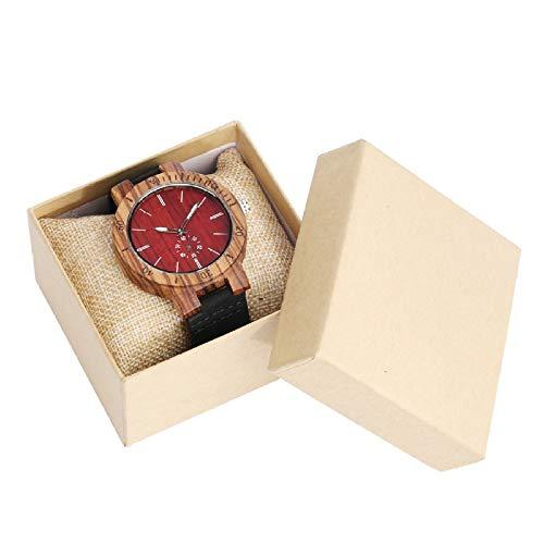UIOXAIE Reloj de Madera Reloj de Madera Rojo para Hombre, Pantalla de Segundos pequeños, punteros Luminosos para Hombre, Reloj de Pulsera de Madera de Cuarzo Simple de Cuero Negro par