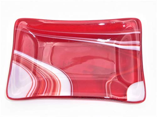Red White Swirls Soap Candy Candle Holder Trinket Dish Handcrafted Fused Glass