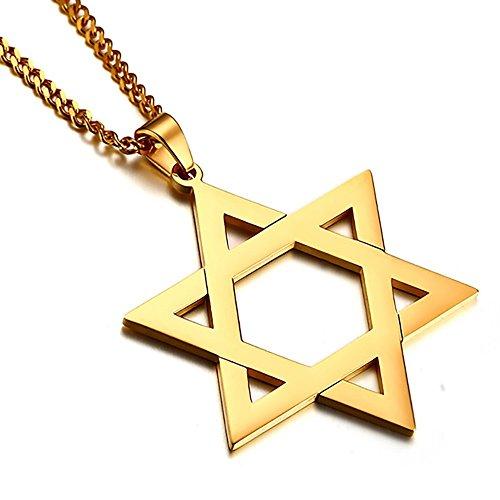 BOBIJOO Jewelry - Hanger Ster van David, de Joodse Gouden Man van Staal Helder Goud 50mm + Ketting 60cm