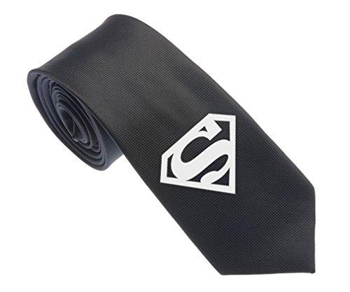 uYOUNG Superman Symbol Muster Schwarz Herren Woven 6,3cm Schmale Krawatte