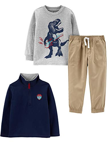 Simple Joys by Carter's Boys' Toddler 3-Piece Fleece Jacket, Long-Sleeve Shirt, and Woven Pant Playwear Set, Navy Dino