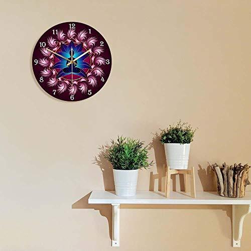 wffmx Chakra Energy Healing Reloj De Pared Buda En Lotus Mandala Flor Yoga Art Deco Reloj Silencioso Reloj De Pared Budista Decoración del Hogar Reloj De Pared-30X30Cm