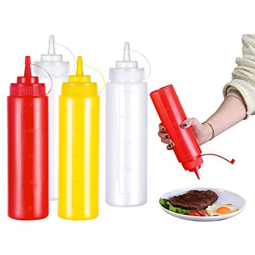 INHEMI Squeeze Flaschen mit Kappen, Saucenflasche aus Kunststoff 250ML,Mehrzweck Condiment Flaschen,Kein Leck, BPA Frei (4 Stück)
