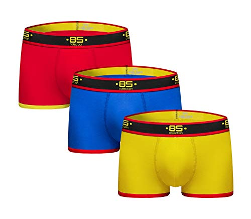 Swbreety Mens Underwear Boxer Briefs Pure Cotton Breathable Soft Shorts Red/Blue/Yellow