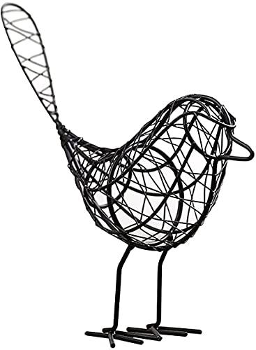WANQPPS Statue da Giardino,Pixies Elfi,Ornamenti per uccelli in ferro battuto Artigianato in metallo Filo di ferro Uccello Modello animale Ornamento Decorazione del giardino di casa Sculture Statue da