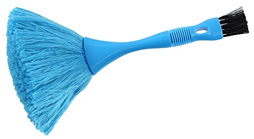 Fackelmann stofborstel TECNO, plumeau van kunststof, stofveger met reinigingskwast (kleur: blauw), hoeveelheid: 1 stuk