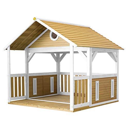 AXI Spielhaus Zazou aus FSC Holz   Outdoor Kinderspielhaus für den Garten in Braun & Weiß   Gartenhaus für Kinder mit Veranda & Picknicktisch