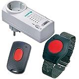 ELDAT Senioren-Sicherheitspaket 1, Hausnotrufgerät mit wasserdichtem Notrufarmband, Funk-Empfänger, Quittierungs-Sender