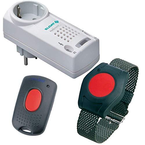 ELDAT RS16 zusammen mit Quittierungs-Sender; Funkruf-System für die häusliche Kranken- und Seniorenpflege